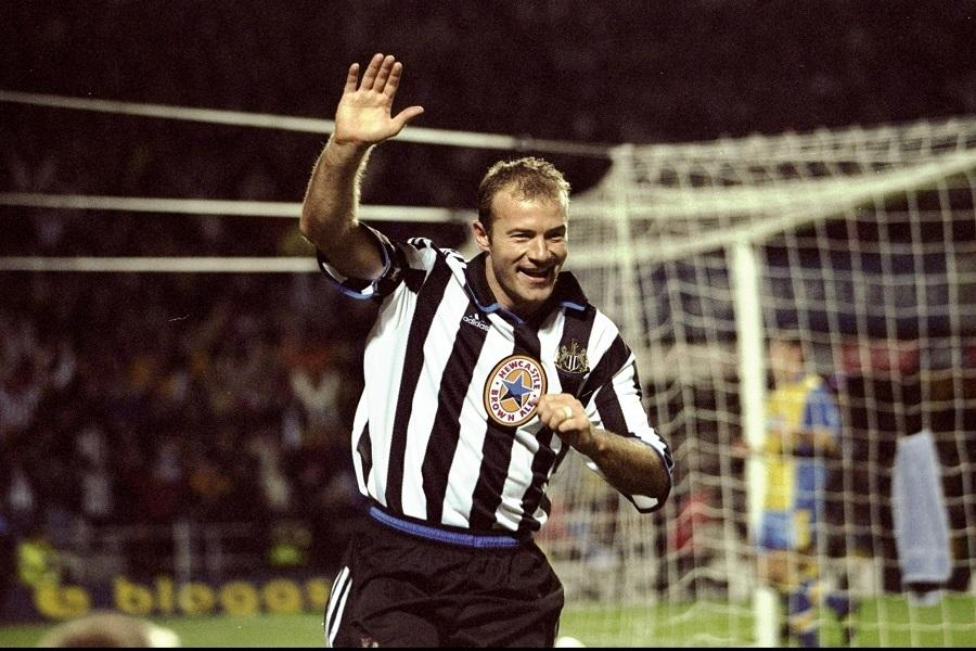 25 Oct 1999: Alan Shearer of Newcastle celebrates scoring during the FA Carling Premiership match against Derby played at St James Park in Newcastle, England. Newcastle won the game 2-0. Mandatory Credit: Ben Radford /Allsport